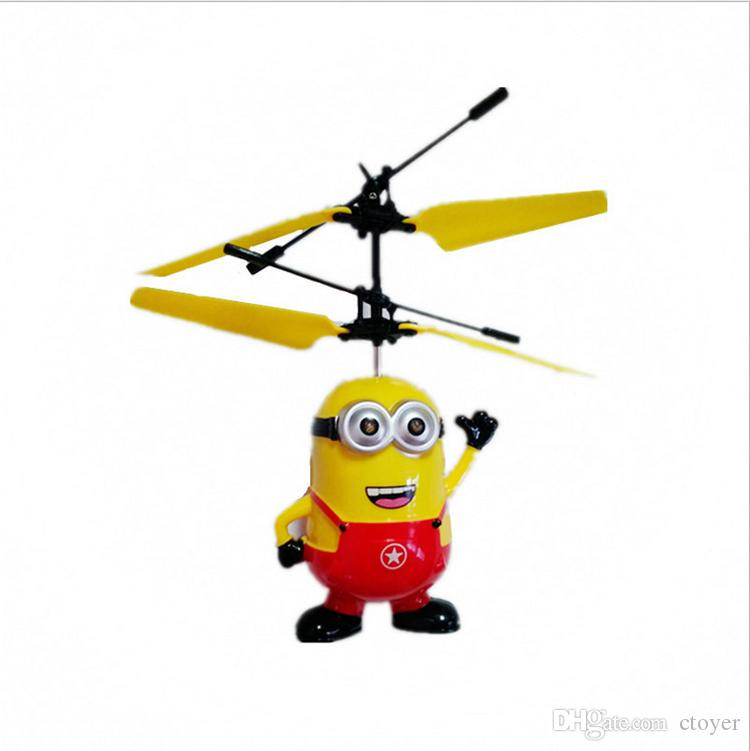 Retail 2017 Male&Female Despicable ME Flying Fly Minion Radio Sensor RC Helicopter Toys Gifts ME best gift for Kids
