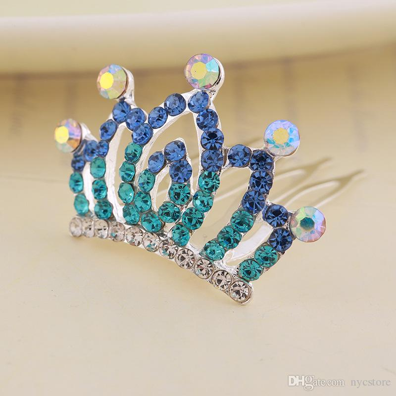 Crystal Princess Crown Hair Comb Kids Birthday Party Tiaras Girls Hair Clips Kids Hairpins Hair Jewelry Accessories