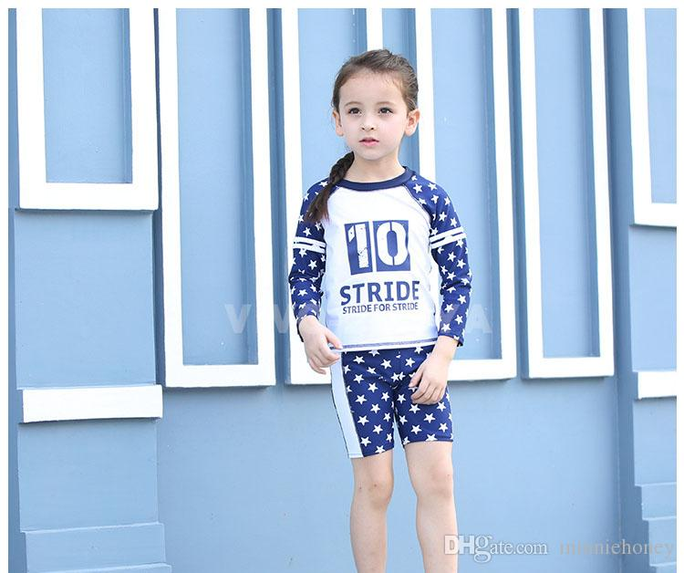 074cb5e64b8d8 2019 Children Kid Swimwear UPF50 Highly Elastic Comfortabl Two Pieces With  Cap Cute Baby Long Sleeves Star Swimsuit Hot Sale From Minniehoney, ...