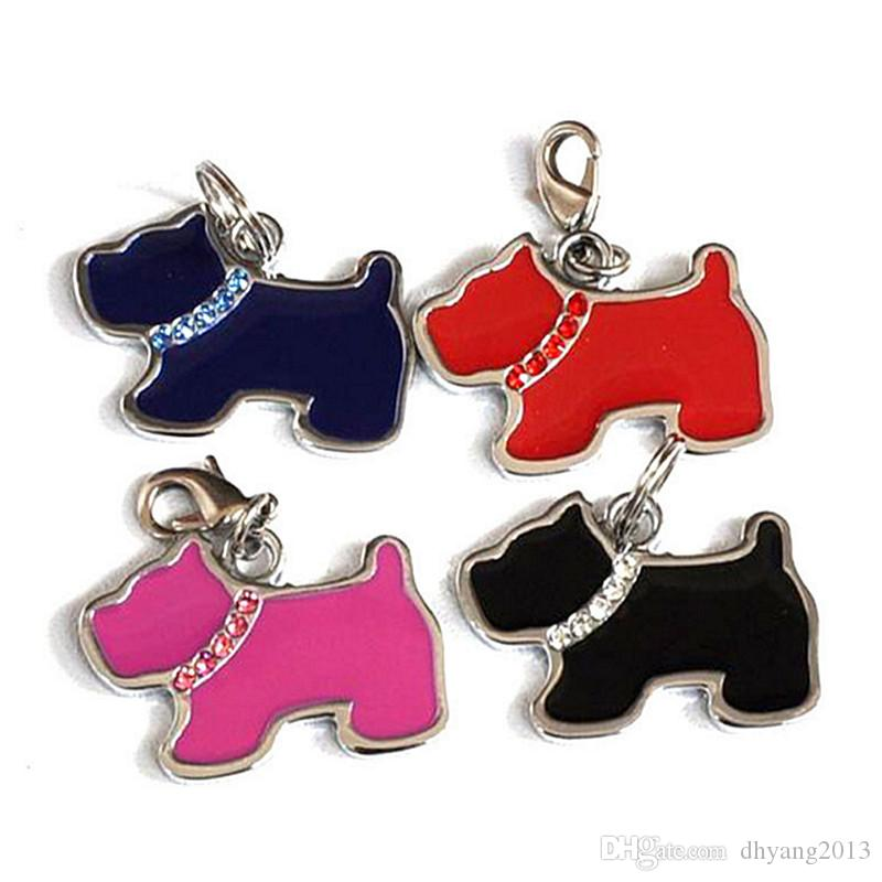 Cute Cartoon Dog Cat Shape Pet Safety Tag ID With Diamond Heart House Shape Drip Design Fit Pet Collar&Necklace Cheap