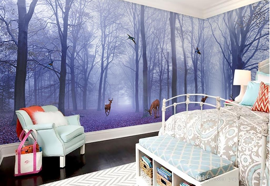 Bedroom Football Wallpaper Custom Modern Purple Forest Elk
