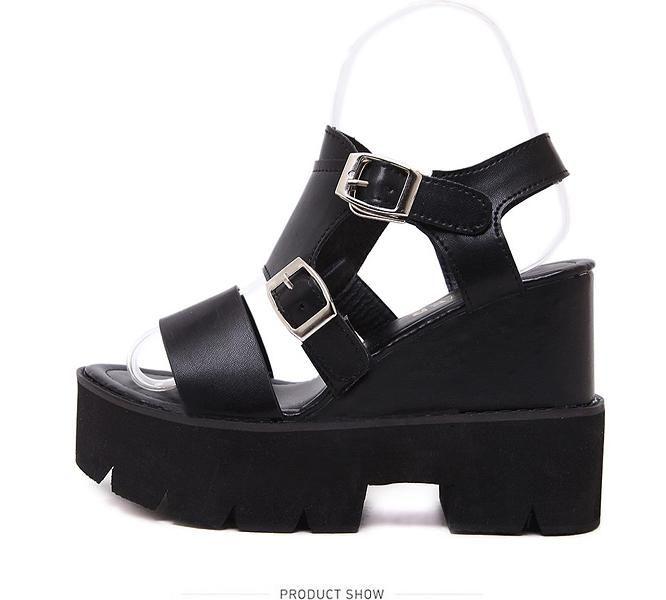 Show M3 Black High Heels Rivet Pearl Women Ankle Strap Rope
