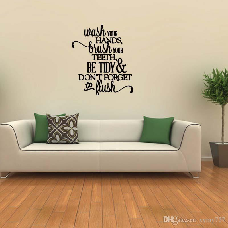 For Bathroom Words Lettering Removable Wall Decal Subway Funny