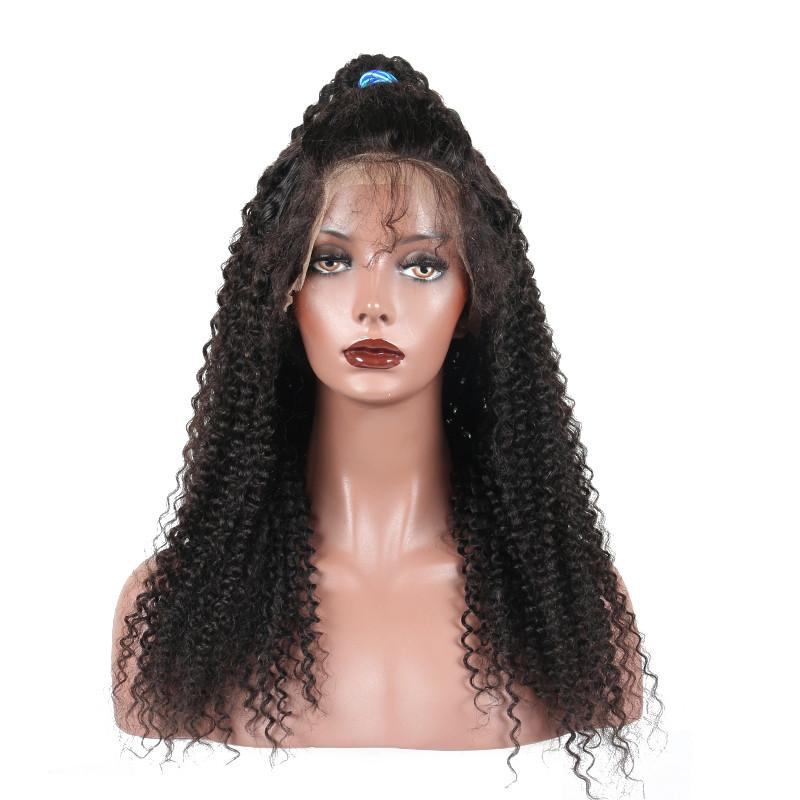 Front Lace Wigs Kinky Curly For African Women Natural Color Full Lace Wigs With Baby Hair Free Part Middle Three Part