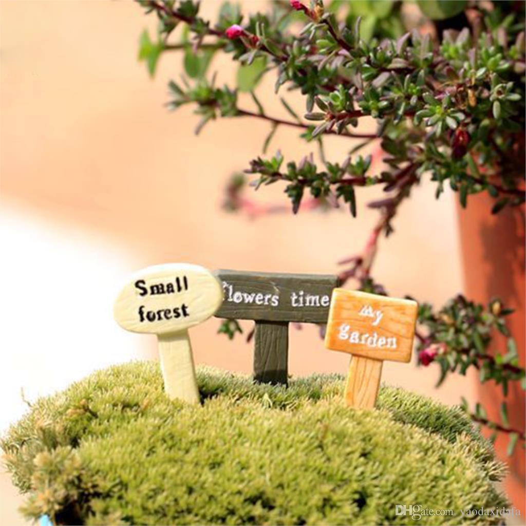 Mini Garden Accessories Moss Micro World Signpost Garden Miniatures  Modernization Simple Style Kawaii DIY Resin Craft Random