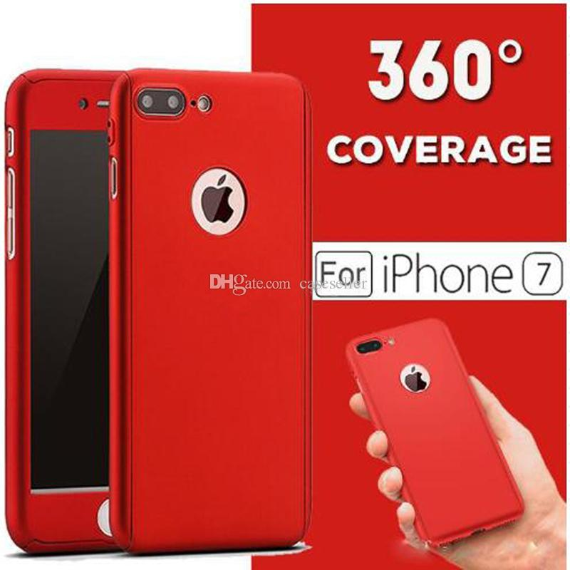 meet 2edb9 176b8 Ultra-thin Hybrid Luxury 360 Degree Full Body Protection With Tempered  Glass Protector Cover Case For iPhone 7 plus 6 plus 6s