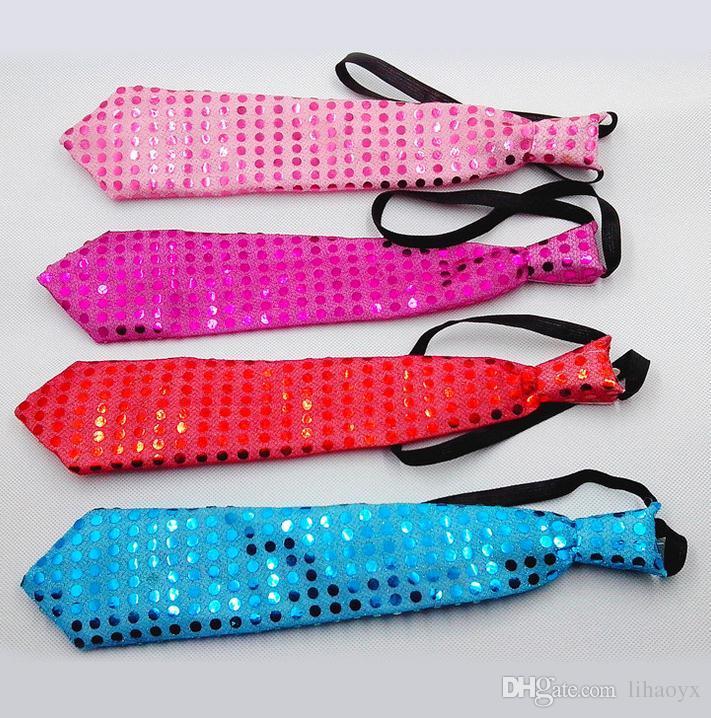 Yetişkin çocuk sequins LED kravat aydınlatma kravat kravat parlak parti hediye Noel Cadılar Bayramı kulübü bar sahne ücretsiz DHL ...