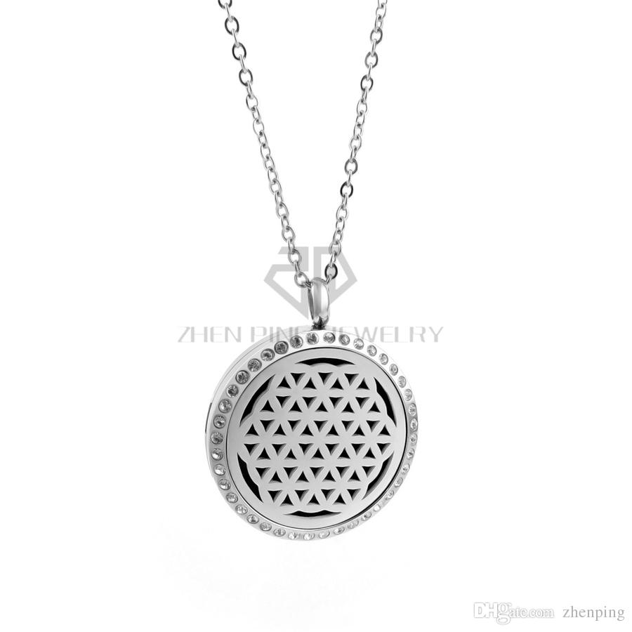 Round Silver The Seed of Life 30mm Essential Oils Stainless Steel Necklace Perfume Diffuser Locket Aromatherapy Locket Necklace
