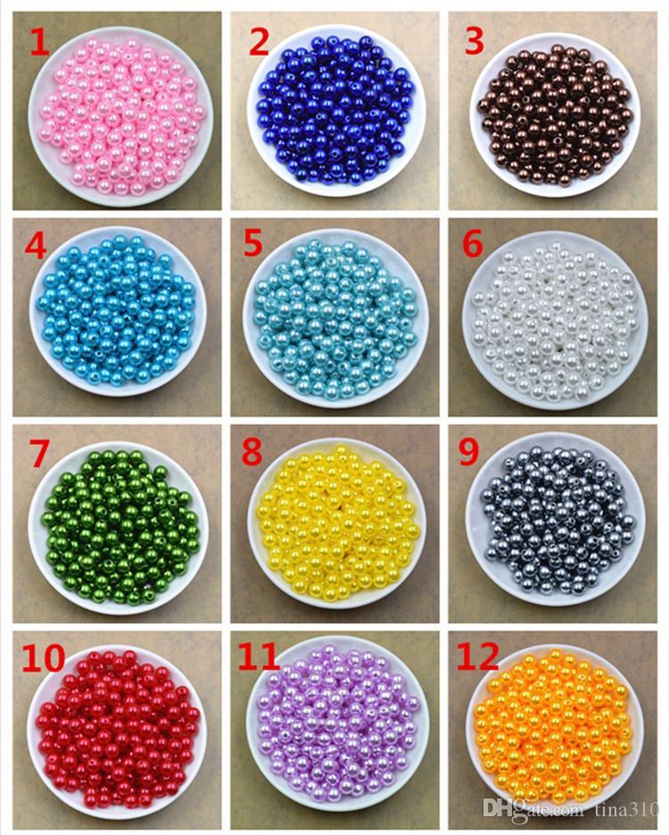 Chaude Multicolore Ronde Perle Imitation Plastique Perles Lâche Perles Bijoux DIY bijoux accessoire Fit Bracelets Collier IB266