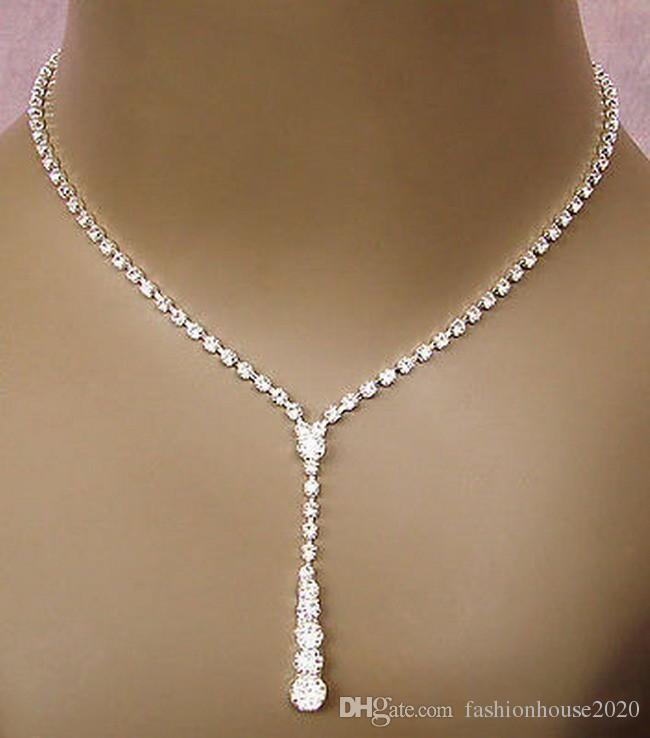 Cheap Bling Crystal Bridal Ювелирные Изделия набор Серебряные Ожерелье Серьги Diamond Серьги Свадебные Ювелирные изделия Невесты Невестые Женщины Аксессуары