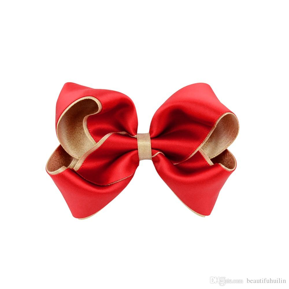 3.6 Inch Sweet Baby Girls Solid Ribbon Hair Bows With Clip Boutique Hair Clip Hairpin Baby Hair Accessories Beautiful HuiLin C02