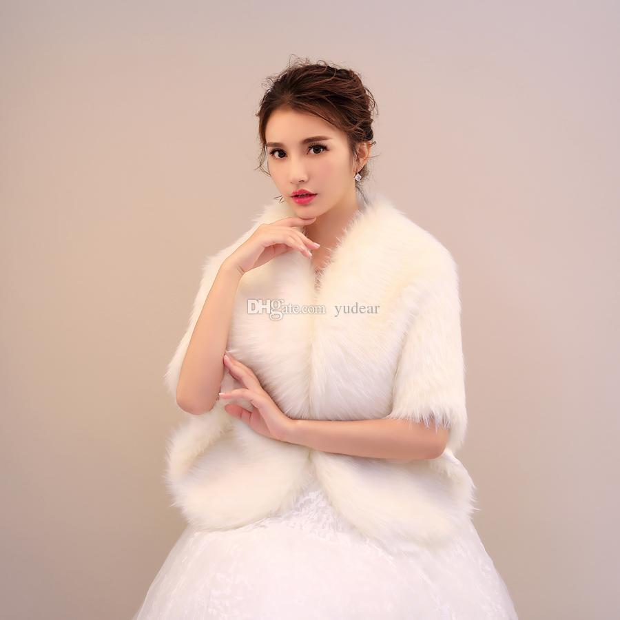 2019 كبير الزفاف طويل فو الفراء شالات العاج الدافئة الأغطية أنيقة الأميرة بوليرو الحقيقي كصورة جودة عالية التستر سرق cape
