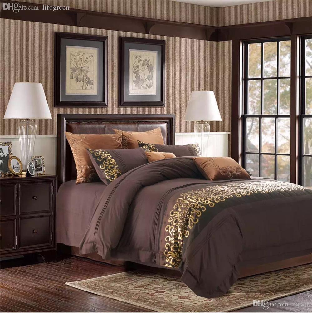 Wholesale *unique Bedroom Set 100% Cotton Dark Coffee