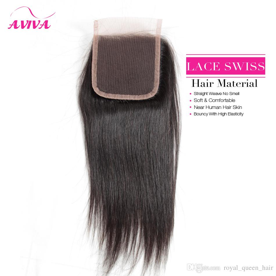 Chiusure del tessuto dei capelli umani vergini dell'onda brasiliana diritta chiusura nera naturale del pizzo 4x4 Tre parti libere del mezzo