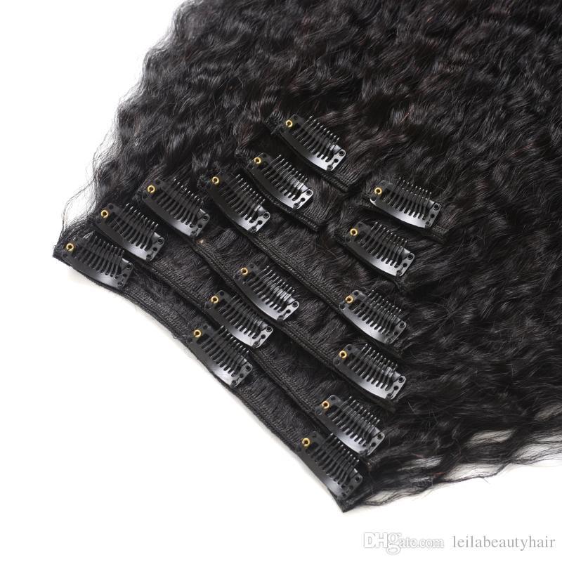 Brasilianisches Menschenhaar, grob, Yaki, gerade, 7-teilig, SET, verworrene, gerade Haarspange mit Echthaarverlängerungen, natürliche, schwarze Echthaarwebarten
