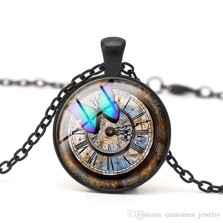 Butterfly Pendant Necklace Dome Glass Cabochon Ancient Vintage Clock with Handmade DIY Charm Women Jewelry Children Gift