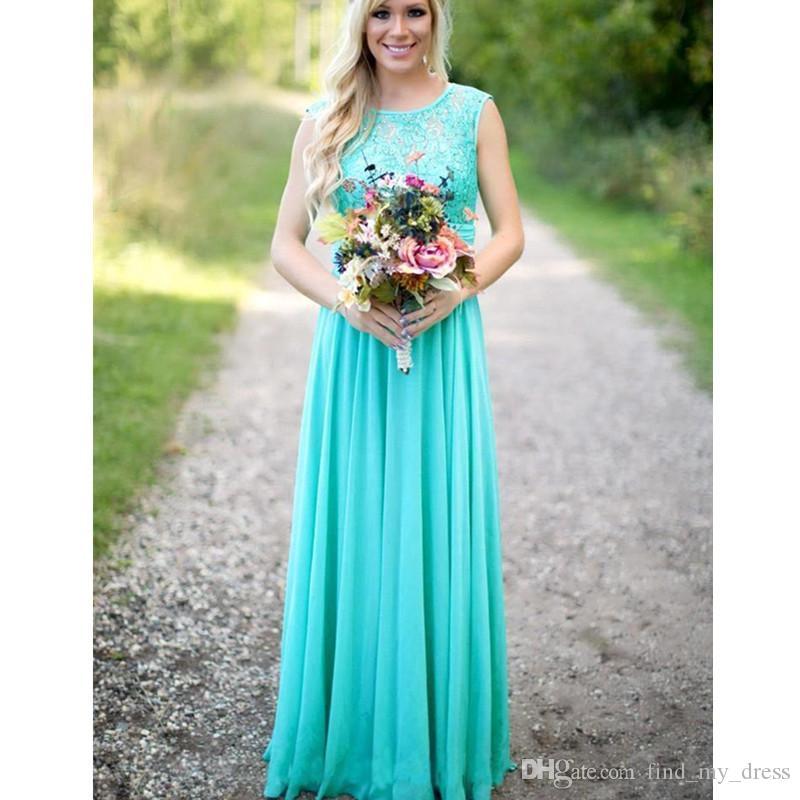 New Spring Mantel Brautjungfernkleider Mint Chiffon bodenlangen Lace Sheer drapierte Low Back Hochzeit Prom Party Kleider Modern Modisch