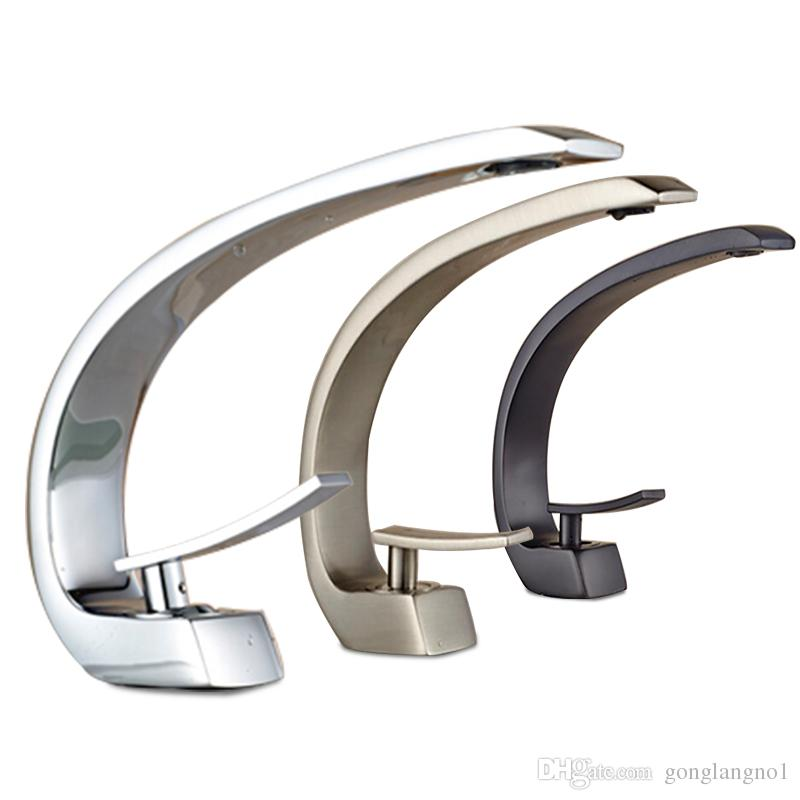 Wholesale And Retail Luxury Elegant C Curved Bathroom Basin Faucet Single Handle Hole Vanity Sink Mixer Tap Hot And Cold Mixer