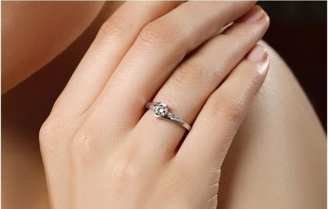 Star twinkle 0.5 ct synthetic diamond rings for Women 925 sterling silver rings plated 18K white gold semi mount ring settings infinity ring