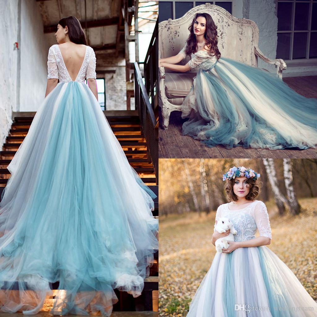 Discount 2017 New Pastoral A Line Wedding Dresses Sequare Half ...