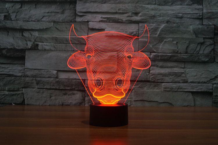 Color libre del envío que cambia la lámpara de tabla principal del USB de la cabeza de la luz LED de la noche LED del dormitorio de los niños de Toro LED del acrílico del control del sensor del tacto de Bull