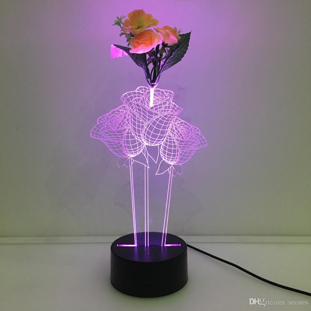 장식 꽃 7 RGB와 함께 3D 장미 장미 환상의 밤 램프 배터리와 함께 전원 화려한 조명 USB 배터리 터치 버튼 Dropshipping