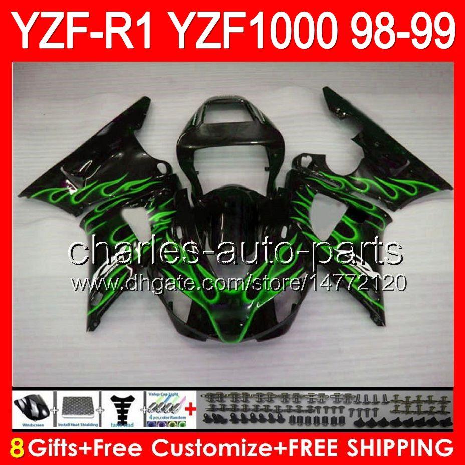 8gifts зеленое тело пламя для Yamaha YZFR1 98 99 YZF1000 и YZF-R1 в 98-99 90NO117 и YZF 1000 и YZF-1000 р 1 и YZF YZF Р1 1998 1999 глянцевый черный обтекатель