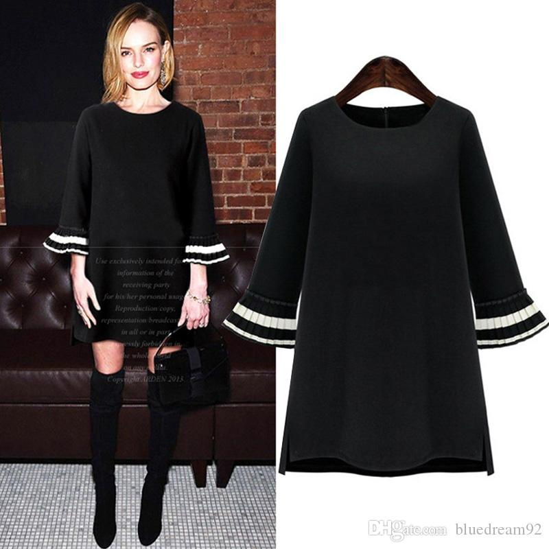Autumn Casual Plus Size Dresses For Womens Loose Fat Women Round