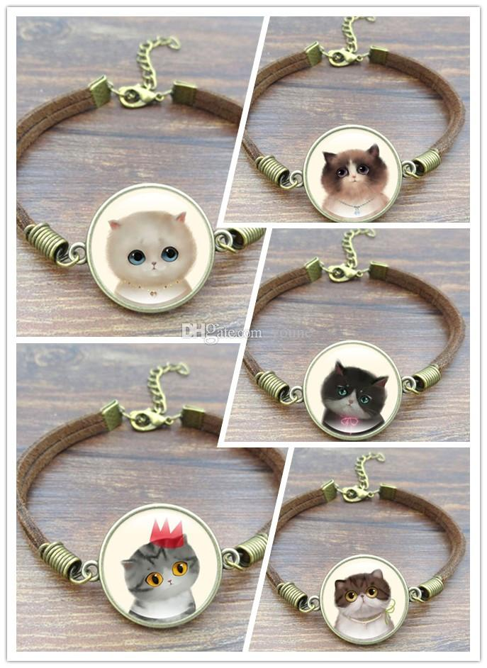 Hot!5 Style Cute Cat Glass Cabochon Art Picture Bracelets & Bangles Vintage Brown Rope Charm Bracelets for Women men Jewelry Choose/Mix