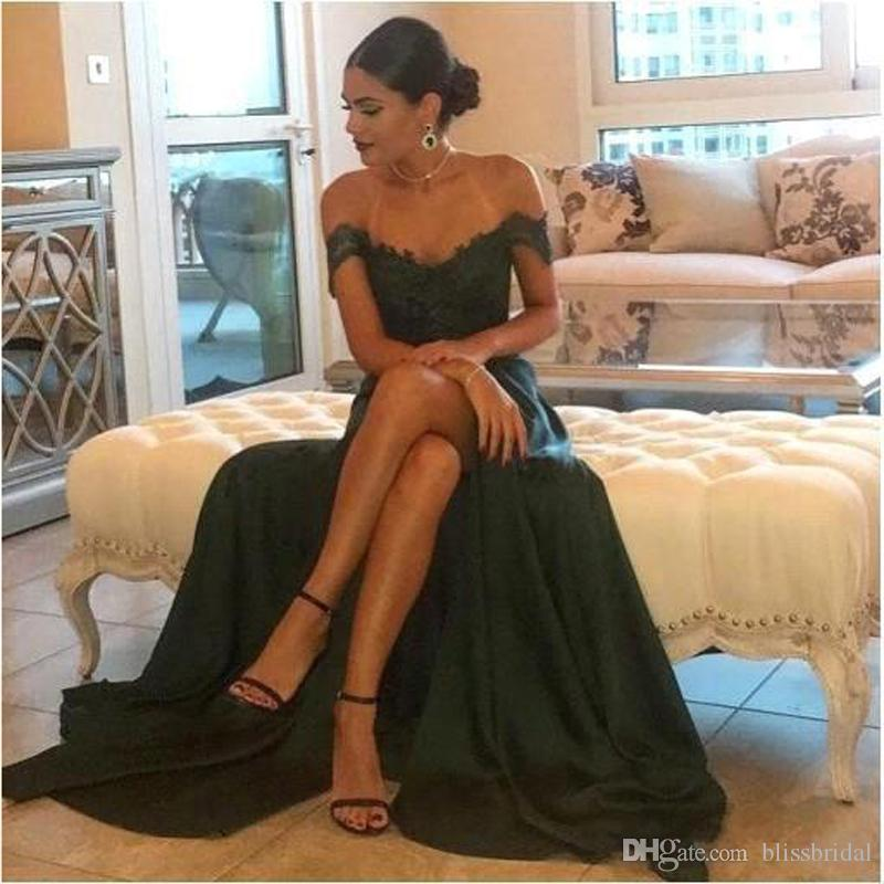 2017 Sexy Prom Dresses A Line Chiffon Off-the-Shoulder Floor-Length High Side Split Lace Elegant Long Evening Dress Formal Dress