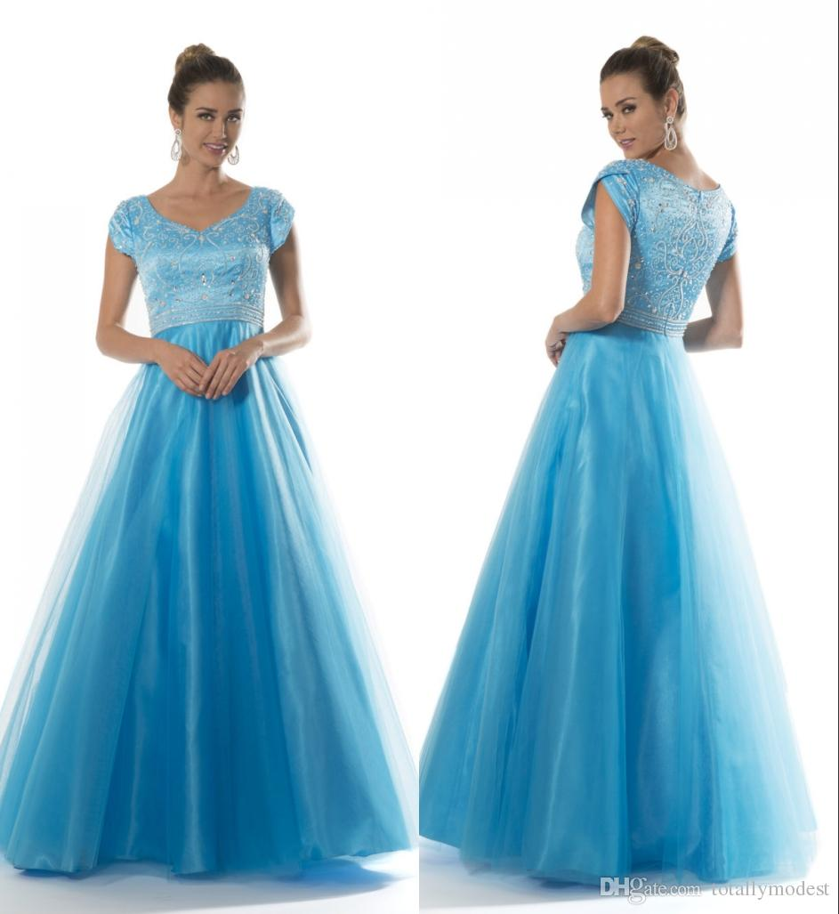 Blue Long Modest Prom Dresses With Cap Sleeves Fully Beaded Bodice A ...