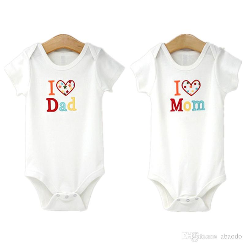 1b556b267 AbaoDo 100% Cotton Baby Romper I Love Dad   Mom Summer Short Sleeve ...