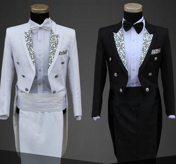 2018 Wholesale Man Wedding Dress Groom White Black Suit Male ...