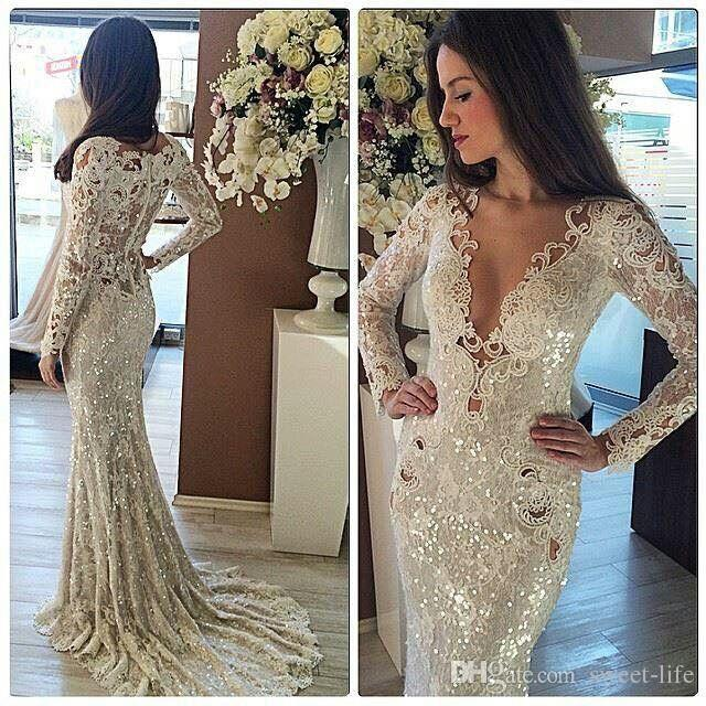 Most Beautiful Sparkly Sequins Sexy Bridal Party Gowns Plunging Outdoor Beach Jewel Neck Long Sleeve Mermaid Wedding Dress 2019