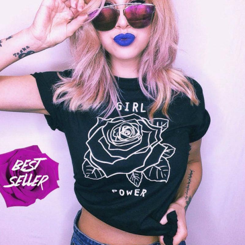 Grosshandel Girl Power Flower Rose Shirt Feministische T Shirt