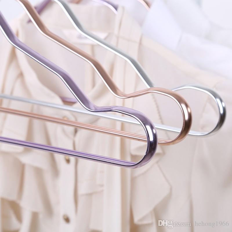 Metal Hangers Adult Suit Thickening Shelf Clothes Drying Racks Anti Skidding Curve Design Coat Hanger Seamless Rose Gold Rack 3sq D R