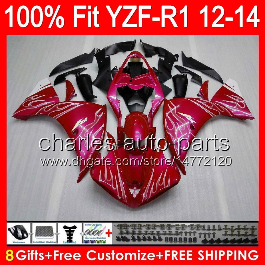 8gifts Einspritzung für YAMAHA YZF-R1 12 13 14 YZF R1 12-14 96NO48 weiße Flammen YZF 1000 YZF R 1 YZF1000 YZFR1 2012 2013 2014 Glanz rote Verkleidung