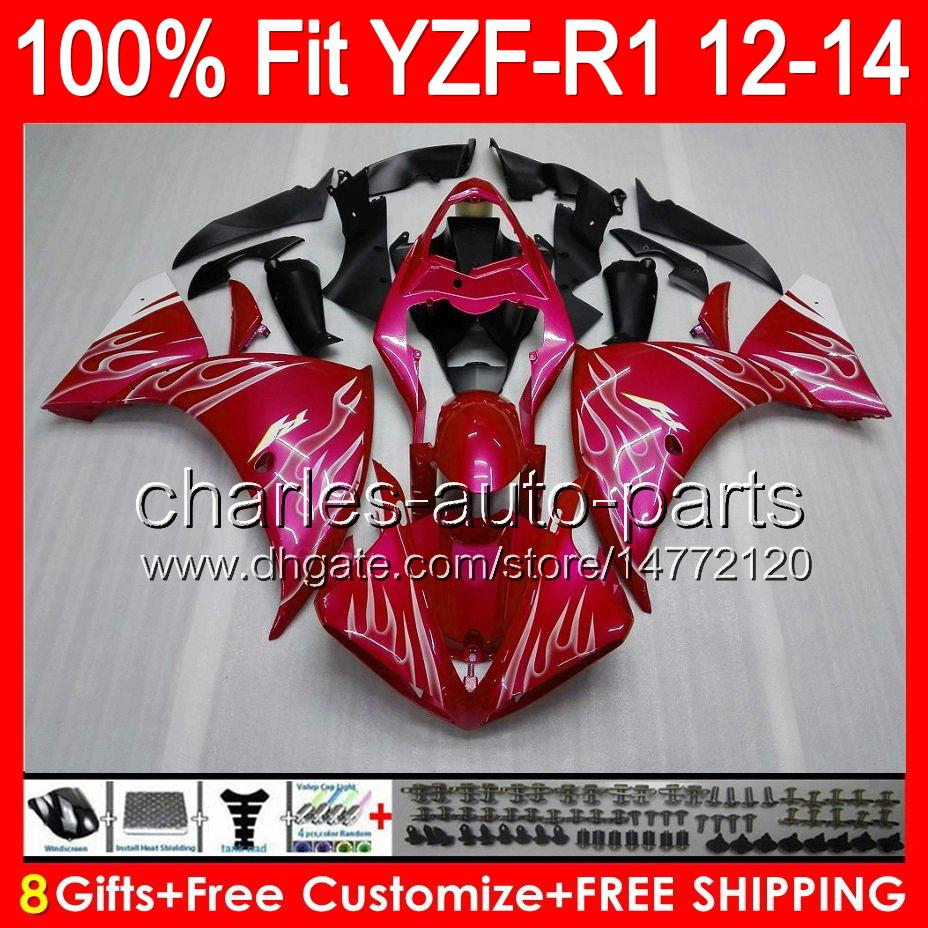 8gifts Injection Pour YAMAHA YZF-R1 12 13 14 YZF R1 12-14 96NO48 flammes blanches YZF 1000 YZF R 1 YZF1000 YZFR1 2012 2013 2014 carénage rouge brillant
