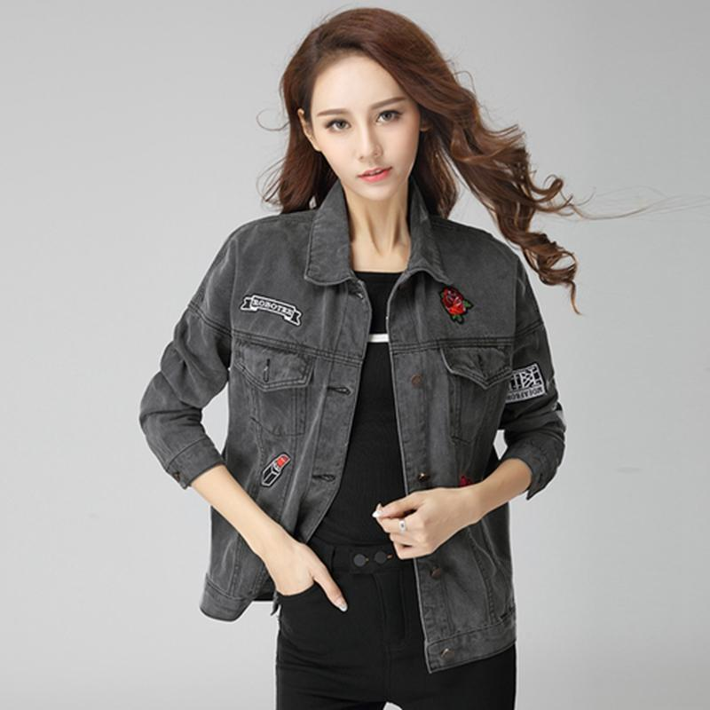 2016 New Bf Style Women Loose Denim Jacket Ladies Fsion Black ...