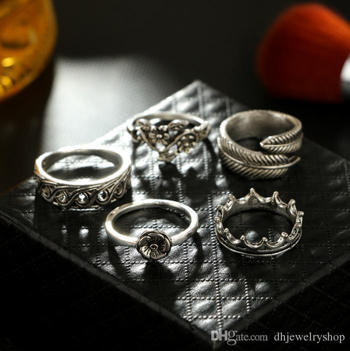 Старинные мода 6шт/набор женщин панк Винтаж костяшки кольца племенные этнические хиппи камня совместное кольцо комплект ювелирных изделий подарок