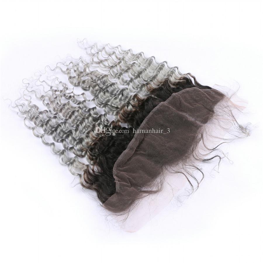 Splitter Graues Menschenhaar Tiefe Welle Mit Ohr Zu Ohr Spitze 1b Grau Dunkle Wurzel Ombre Peruanisches Reines Haar
