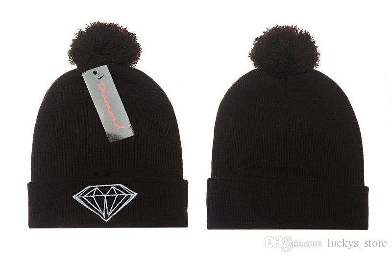 Venda quente por atacado de inverno chapéu Cap gorro de lã de malha das mulheres dos homens Caps chapéus diamante bordado Skullies quente Beanie Unisex frete grátis