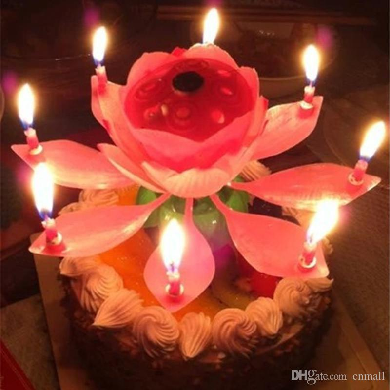 Online Cheap New Lotus Music Candles Led Lotus Candle Light Birthday