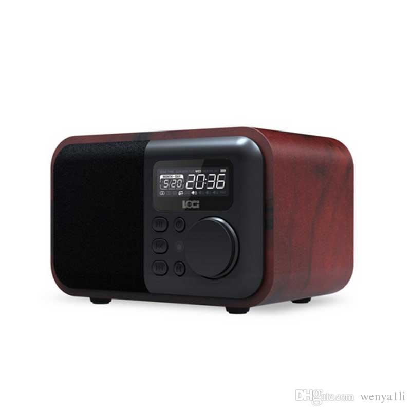 Multimedia Bluetooth de madera manos libres Micphone Altavoz iBox D90 con radio FM Reloj despertador TF / USB Reproductor de MP3 caja de madera retro Subwoofer de bambú