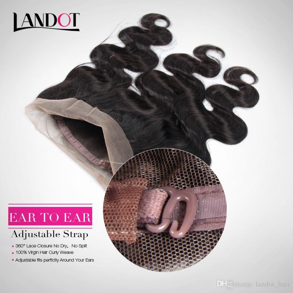 360 Full Lace Frontal Closure Avec 3 Bundles Brésiliens Vierges De Cheveux Humains Tisse Corps Vague Péruvienne Indienne Malaisienne Cambodgienne Remy Cheveux