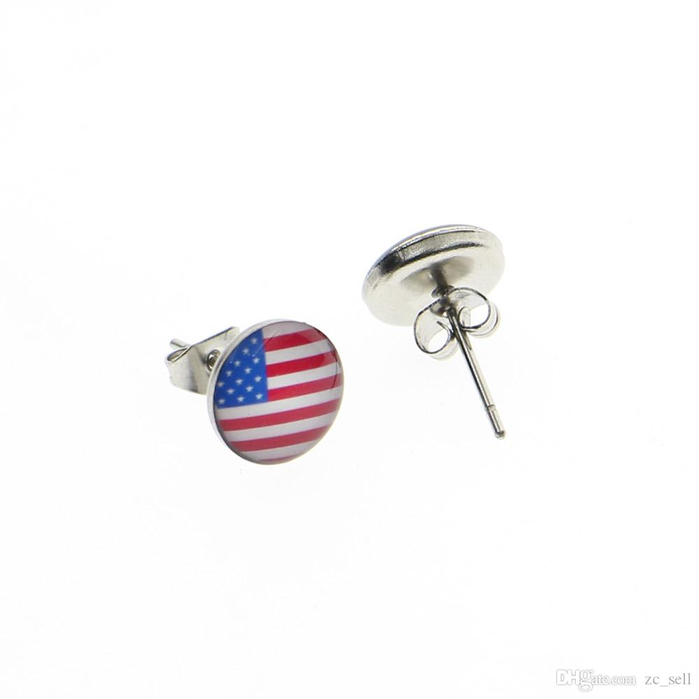 Wholesale Studs Earring Surgical Steel The USA Flag Ear Stud Earrings Cheater Plugs Fashion Jewelry Diameter 10mm*1.2mm ZCST-008