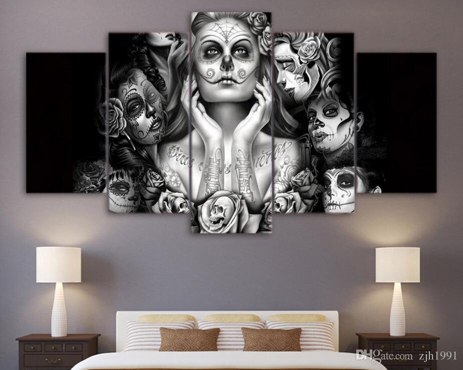HD Printed Day of the Dead Face 5 piece canvas art painting livingroom decoration skull canvas wall art Free