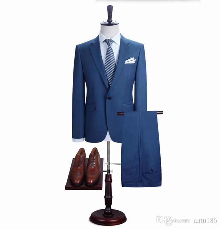 Özel yapılmış erkekler takım elbise yakışıklı erkekler düğün takımları mavi bir düğme damat takımları balo takımları ceket + pantolon