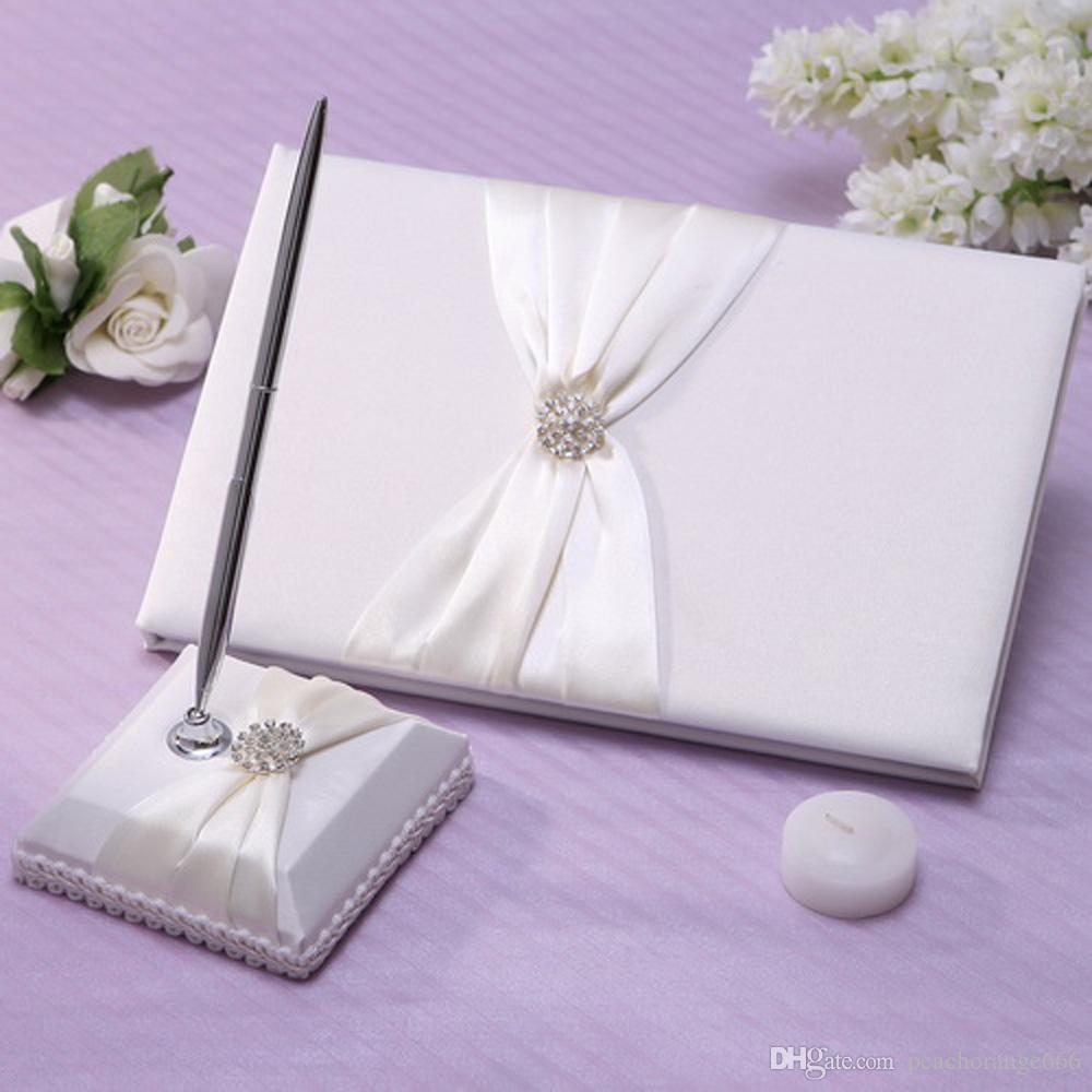 2018 New Romantic Wedding Guest Book And Pen Elegant Satin Notebook ...