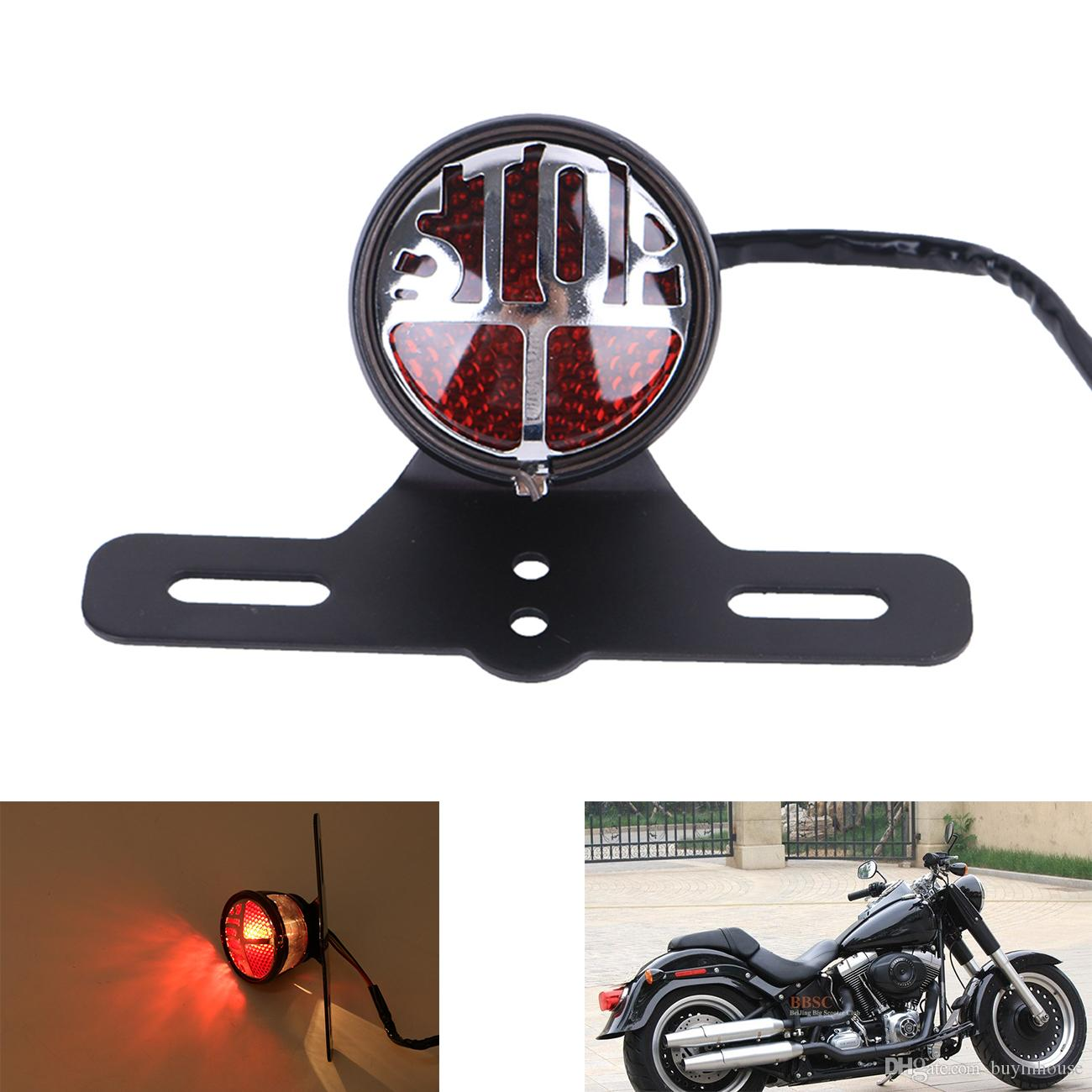 For Motorcycle Harley Chopper Bike Cross Rear Tail Brake License Plate Led Light Automobiles & Motorcycles